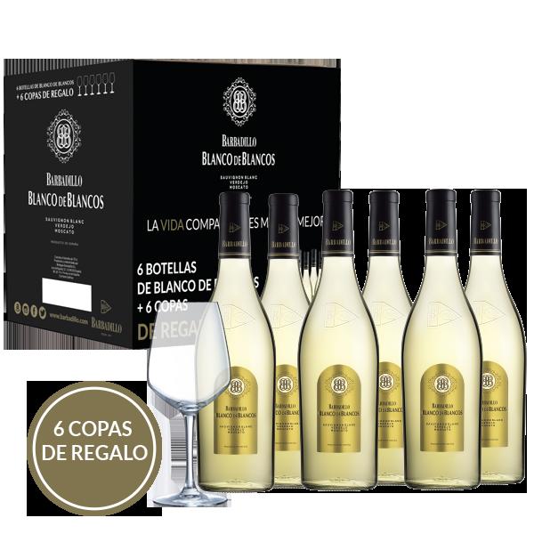 Vino Blanco de Blancos | Barbadillo | pack 6 bot. y 6 copas