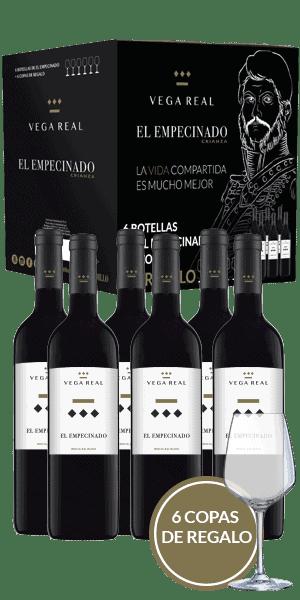 Tinto El Empecinado | Vega real Barbadillo | pack 6 bot. y 6 copas