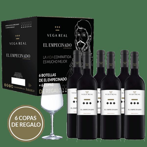Tinto El Empecinado | Vega real Barbadillo | pack 6 bot. y 6 copas 2